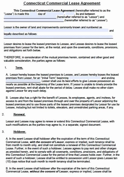 Commercial Lease Agreement Template Free Luxury Free Connecticut Mercial Lease Agreement Template – Pdf