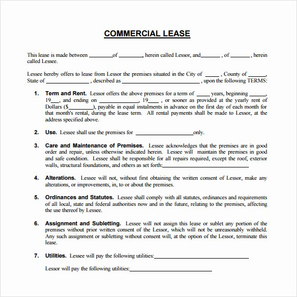 Commercial Lease Agreement Template Free New 8 Sample Mercial Lease Agreements