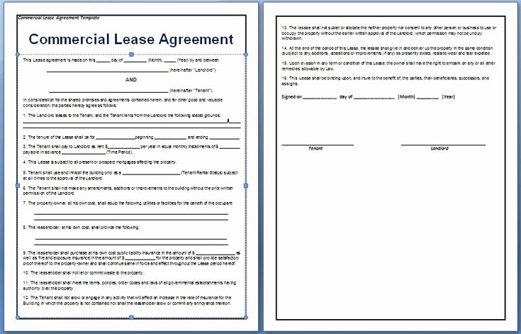 Commercial Lease Agreement Template Free New A Contract Between A Tenant and A Landlord for the Rental