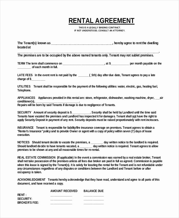 Commercial Lease Agreement Template Free Unique Simple E Page Mercial Rental Agreement Pdf Free