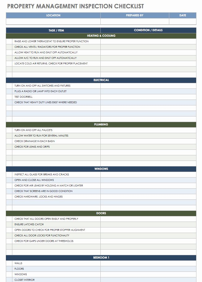 Commercial Property Inspection Checklist Template Awesome 18 Free Property Management Templates