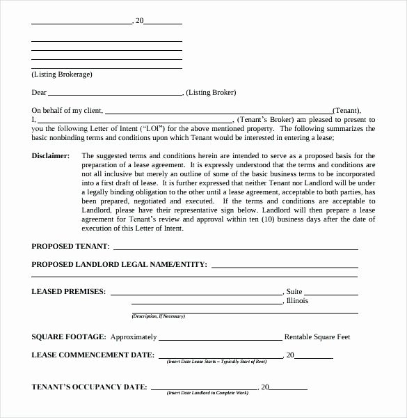 Commercial Real Estate Loi Template Beautiful Real Estate Letter Intent Templates Free Sample Example