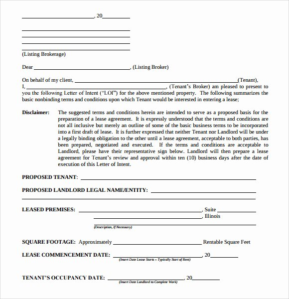 Commercial Real Estate Loi Template Best Of 10 Letter Of Intent Real Estate Templates to Download