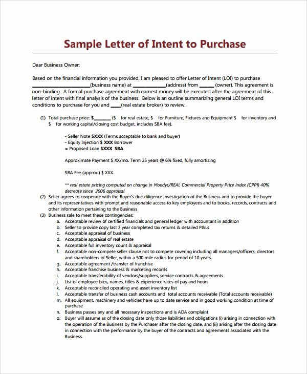 Commercial Real Estate Loi Template Fresh 9 Letters Of Intent to Purchase Property – Pdf Word