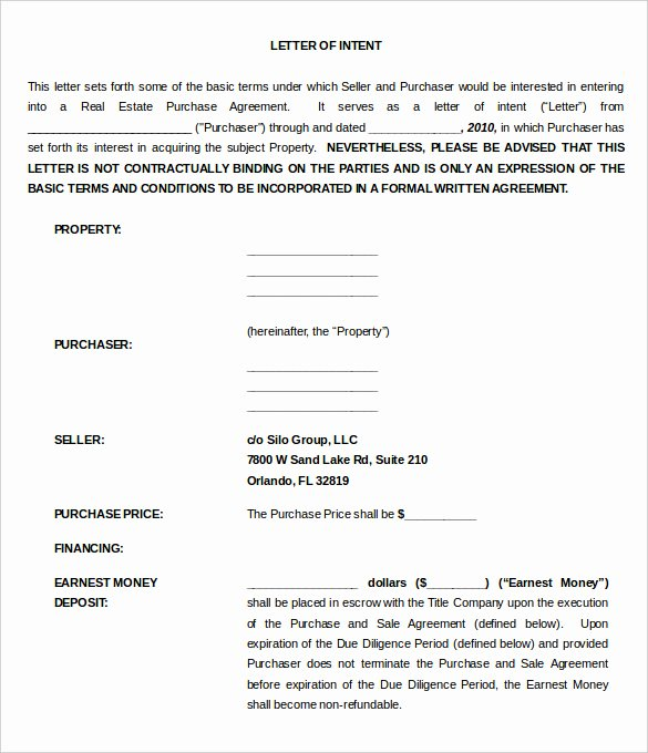 Commercial Real Estate Loi Template Lovely 11 Real Estate Letter Of Intent Templates Pdf Doc