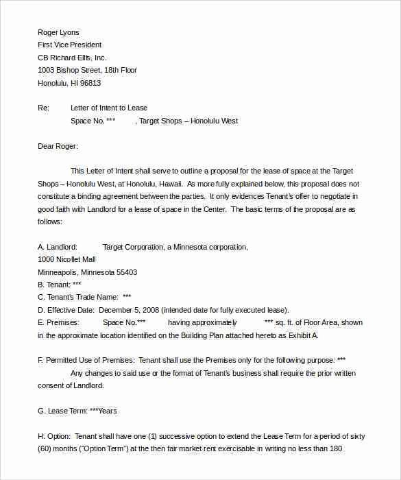 Commercial Real Estate Loi Template Lovely Mercial Real Estate Lease Letter Intent Template