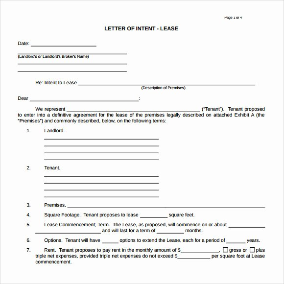 Commercial Real Estate Loi Template Unique 10 Letter Of Intent Real Estate Templates to Download