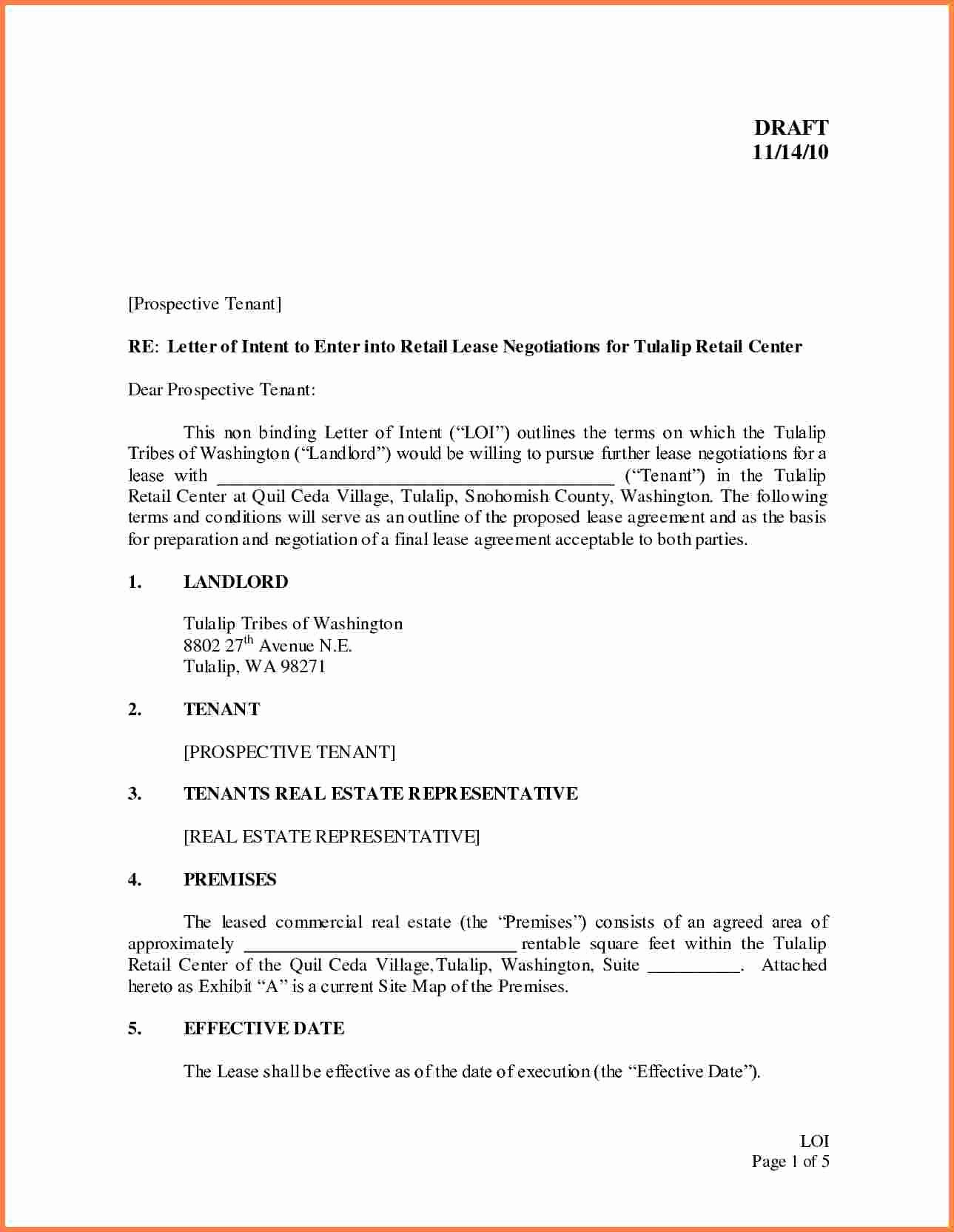 Commercial Real Estate Loi Template Unique Letter Intent to Lease Mercial Property Template