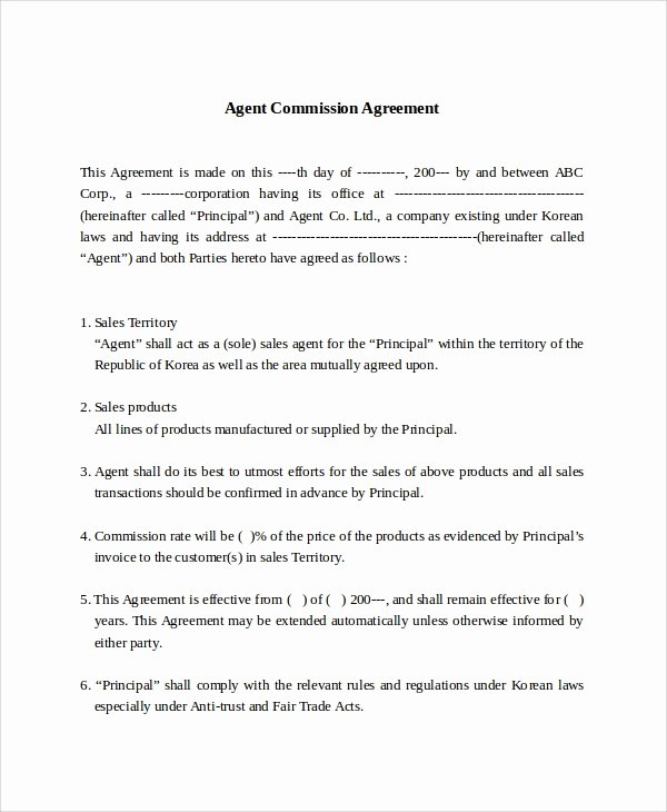 Commission Sales Agreement Template Free Awesome Sample Mission Sales Agreement Template 8 Free