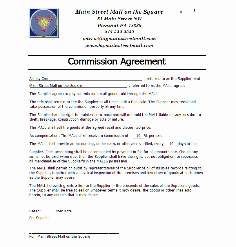 Commission Sales Agreement Template Free Beautiful Mission Agreement Templates