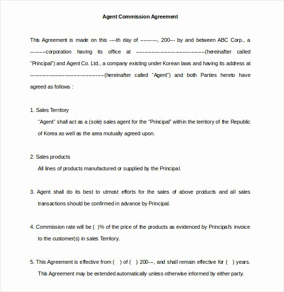 Commission Sales Agreement Template Free Best Of 23 Mission Agreement Templates Word Pdf Pages