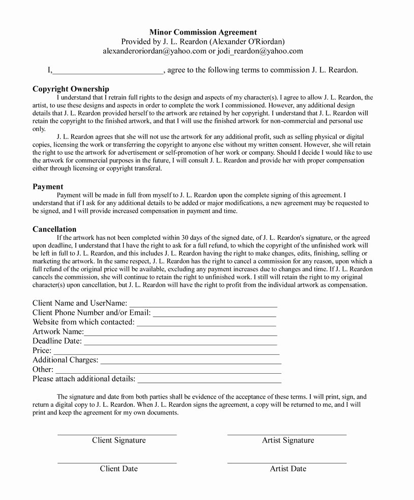Commission Sales Agreement Template Free Elegant Minor Mission Agreement by Alexorio On Deviantart