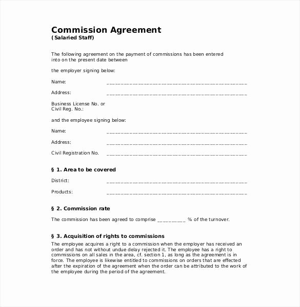 Commission Sales Agreement Template Free Inspirational Mission Agreement Letter Template 60 Employee Sales