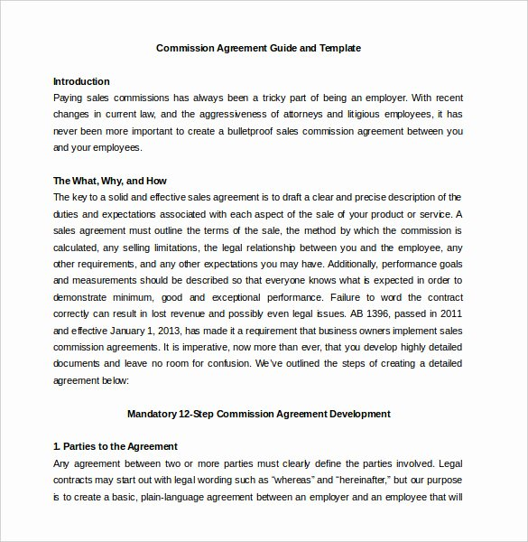 Commission Sales Agreement Template Free Lovely 23 Mission Agreement Templates Word Pdf Pages