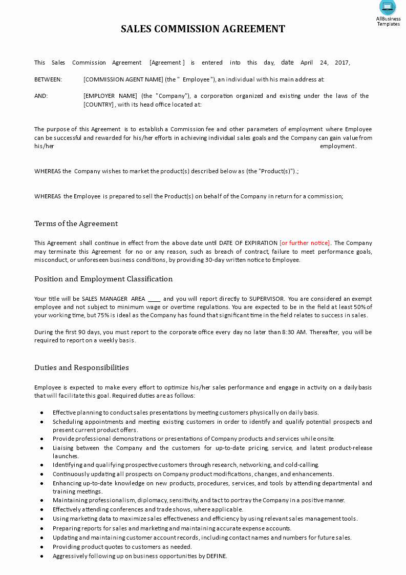 Commission Sales Agreement Template Free New Sales Mission Contract Example