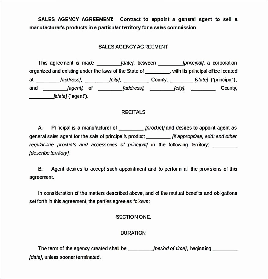 Commission Sales Agreement Template Free Unique Template Mission Agreement Template