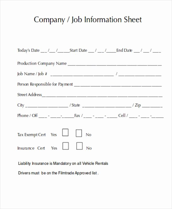 Company Info Sheet Template Awesome 8 Job Sheet Templates Free Samples Examples format