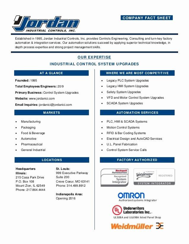 Company Info Sheet Template Beautiful Jordan Industrial Pany Fact Sheet