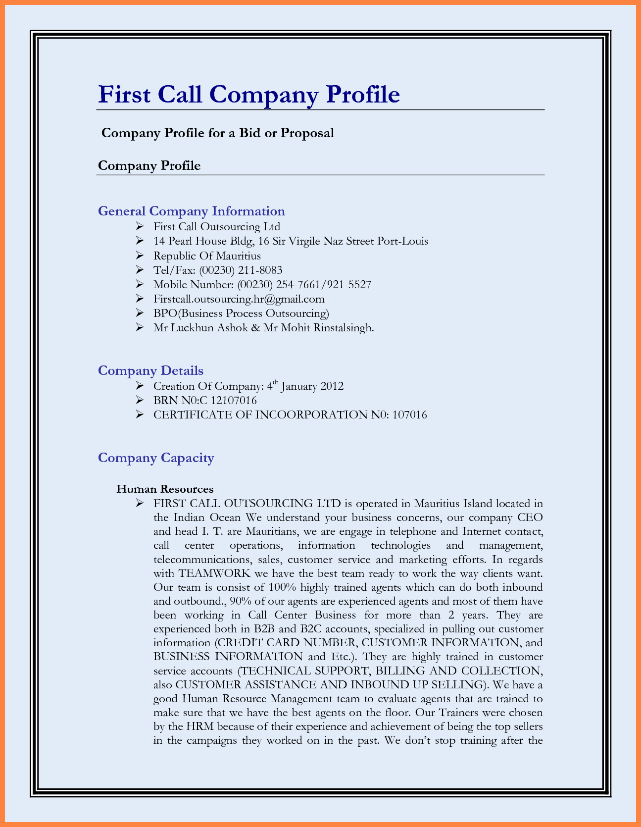Company Info Sheet Template Best Of 6 Sample Pany Profile Doc