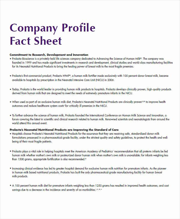 Company Info Sheet Template Inspirational 34 Sample Fact Sheets