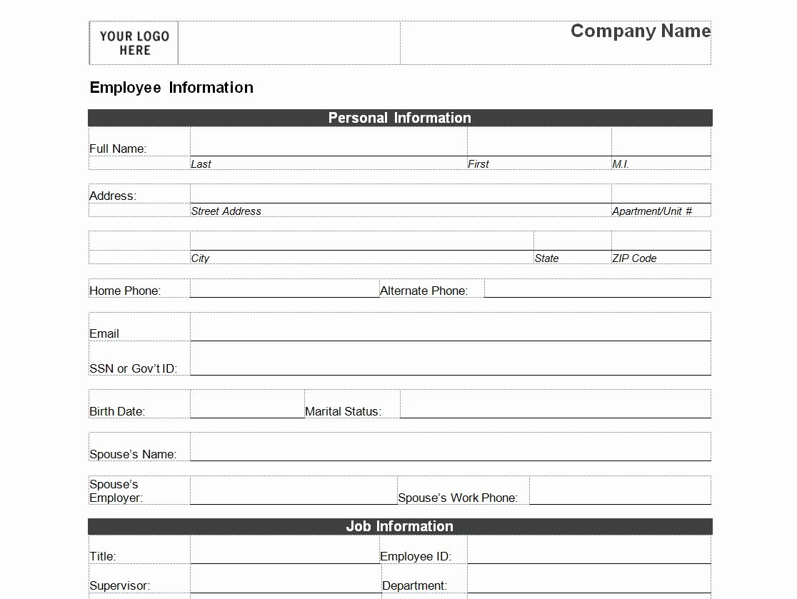 Company Info Sheet Template Unique Employee Personal Information form