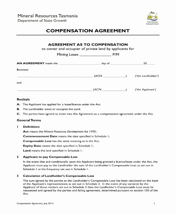 Compensation Agreement Template Free Elegant 8 Pensation Agreement Templates Pdf