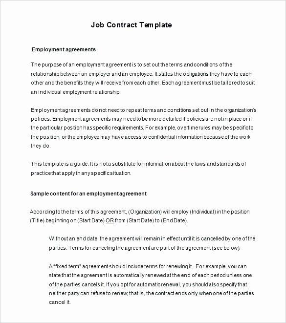Compensation Agreement Template Free Unique Employment Contract Sample Word Document – Jordanm