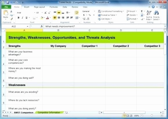 Competitive Analysis Template Excel New Printable Swot Analysis Template Diagram Free Blank Excel