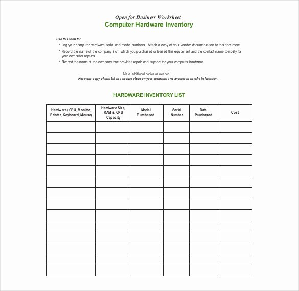 Computer Inventory Excel Template Awesome 20 Inventory form Templates – Free Sample Example