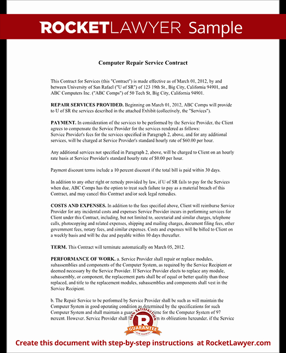 Computer Repair Agreement Template Awesome Puter Service Contract Repair Puter Template