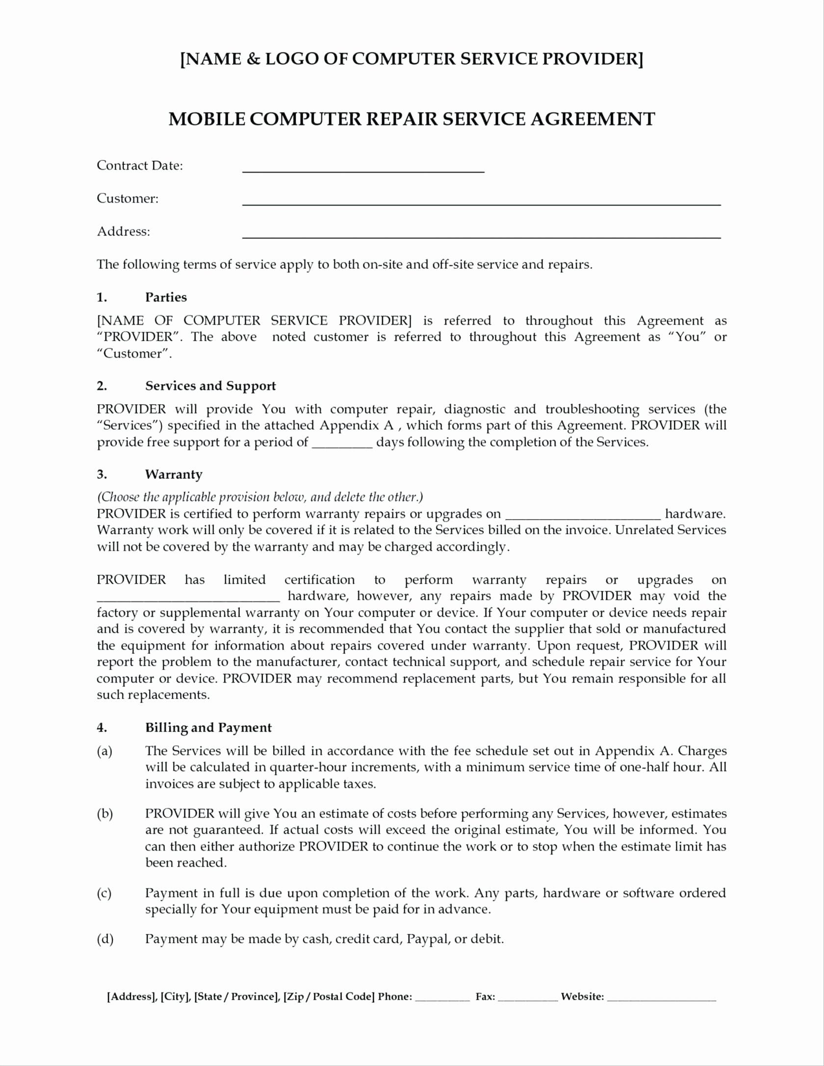 Computer Repair Agreement Template Best Of Puter Repair form Template