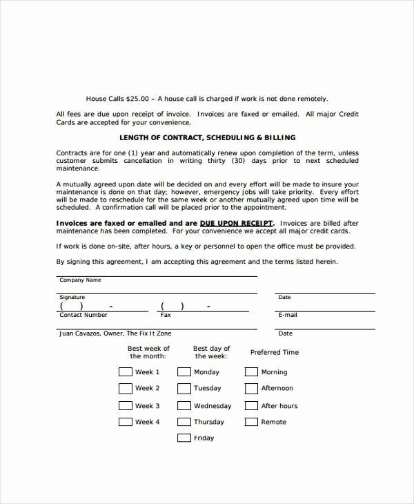 Computer Repair Agreement Template Elegant Maintenance Contract Agreement