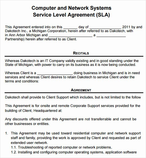 Computer Repair Agreement Template Unique 7 Service Agreement Templates