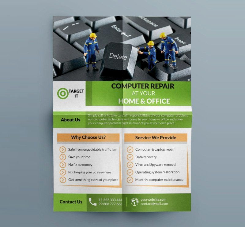 Computer Repair Flyer Template Beautiful Free Puter Repair Flyer Template Psd B