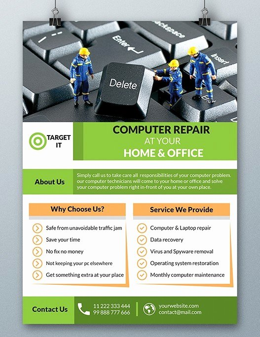Computer Repair Flyer Template Beautiful Free Puter Repair Flyer Template Psd Titanui