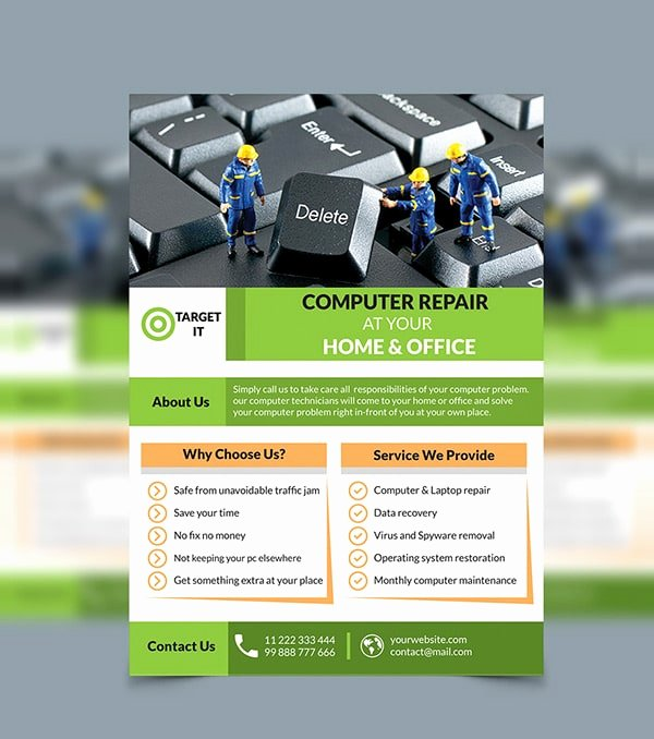 Computer Repair Flyer Template Inspirational Free Flyer Templates Psd From 2016 Css Author