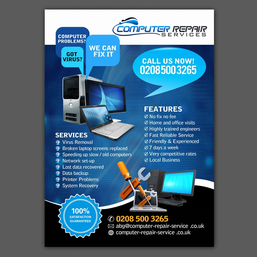 Computer Repair Flyer Template Luxury Design A Flyer for Puter Repairs