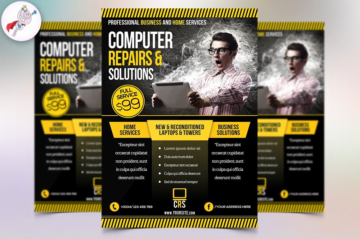 Computer Repair Flyer Template Luxury Puter Repair Business Flyer Flyer Templates