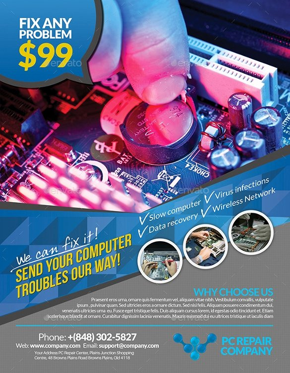 Computer Repair Flyer Template New 25 Puter Repair Flyer Templates Psd Ai Eps format
