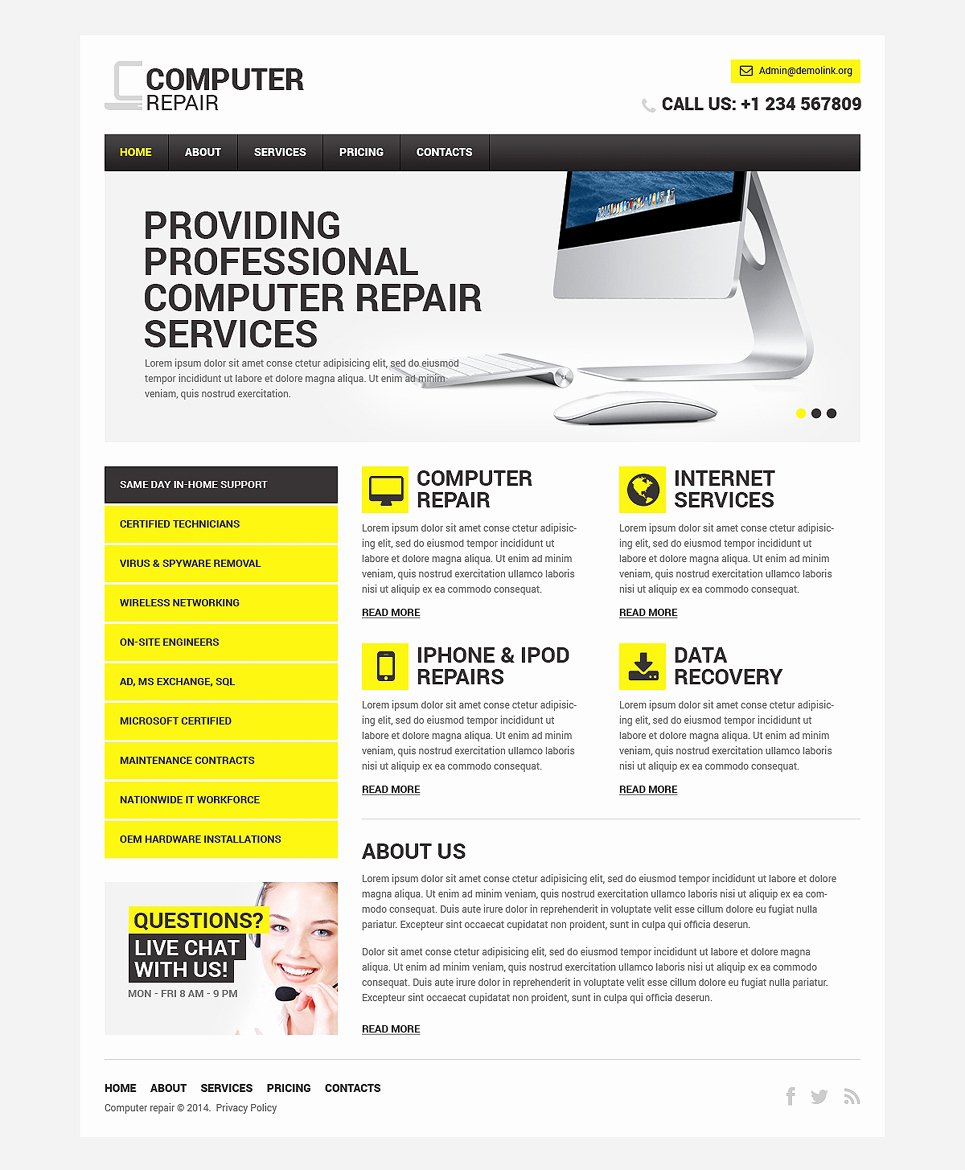 Computer Repair Website Template Awesome Puter Repair Responsive Website Template