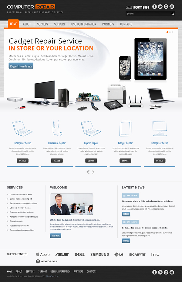 Computer Repair Website Template Best Of Puter Repair Responsive Wordpress Template On Behance