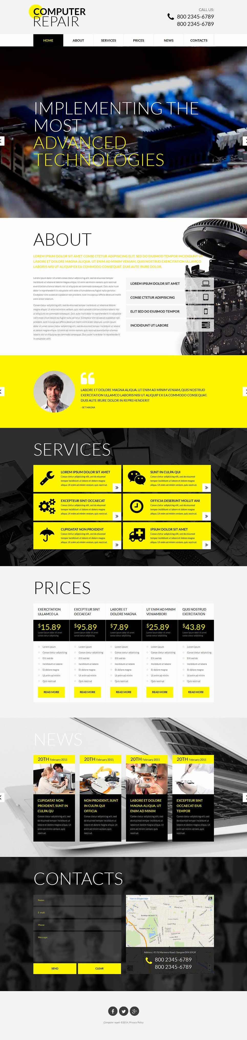 Computer Repair Website Template Elegant Puter Repair Responsive Website Template
