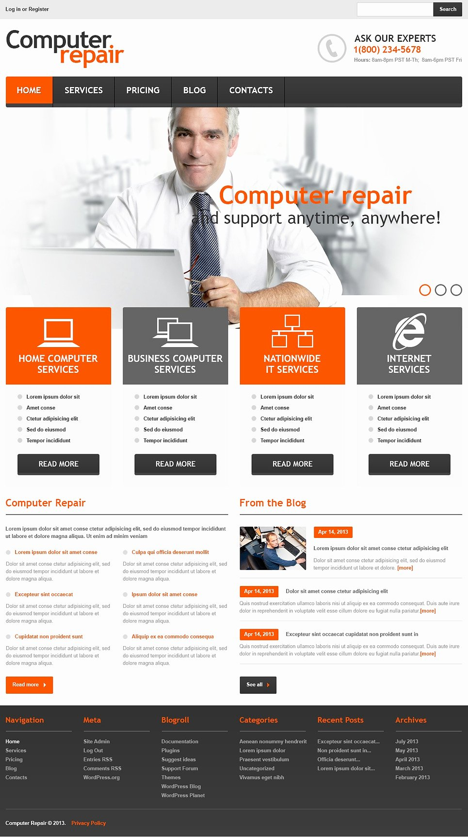 Computer Repair Website Template Fresh Ficial Puter Repair Wordpress theme Web Design