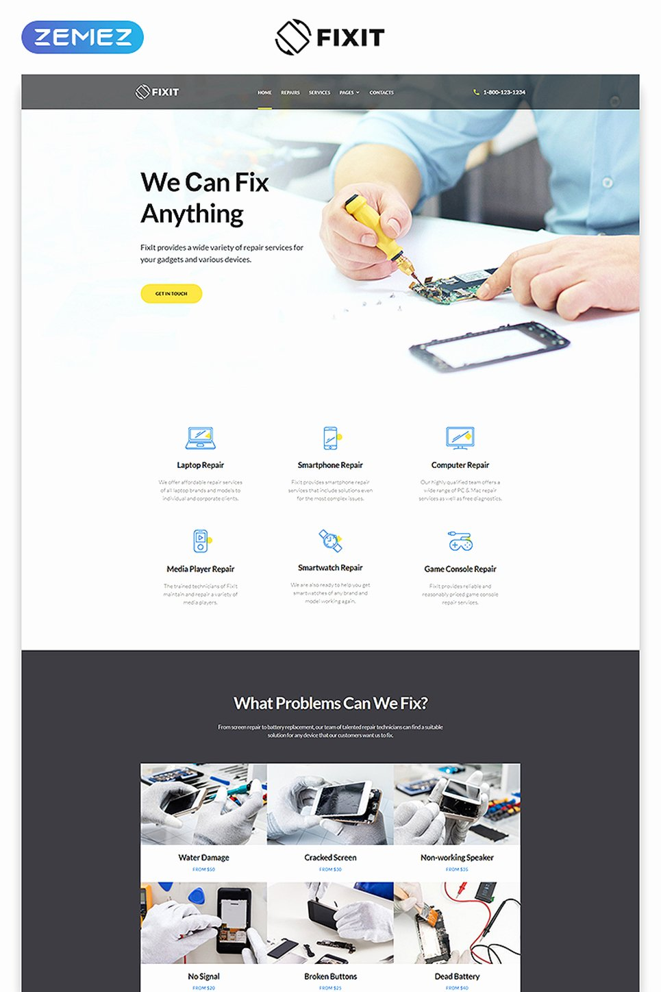 Computer Repair Website Template Fresh Puter Repair Responsive Website Template