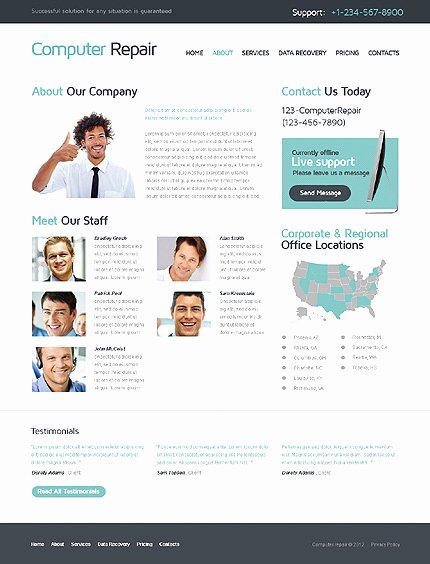 Computer Repair Website Template Inspirational Puter Repair Responsive Website Template