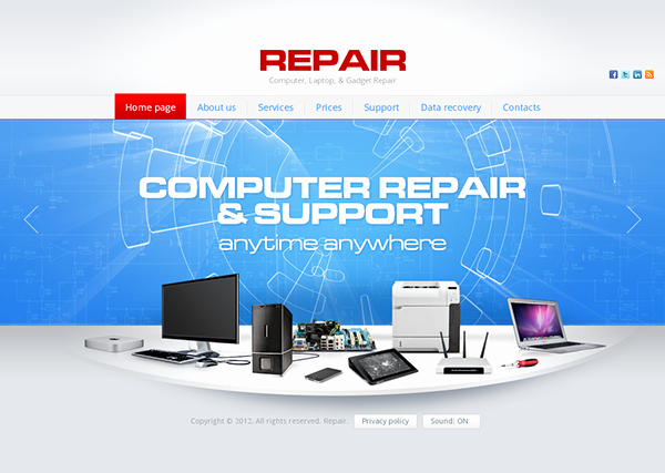 Computer Repair Website Template Inspirational Repair Puter Laptop Gad Repair HTML5 Template On