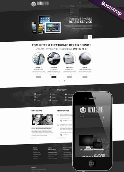 Computer Repair Website Template Lovely Pc Repair Service Web Template