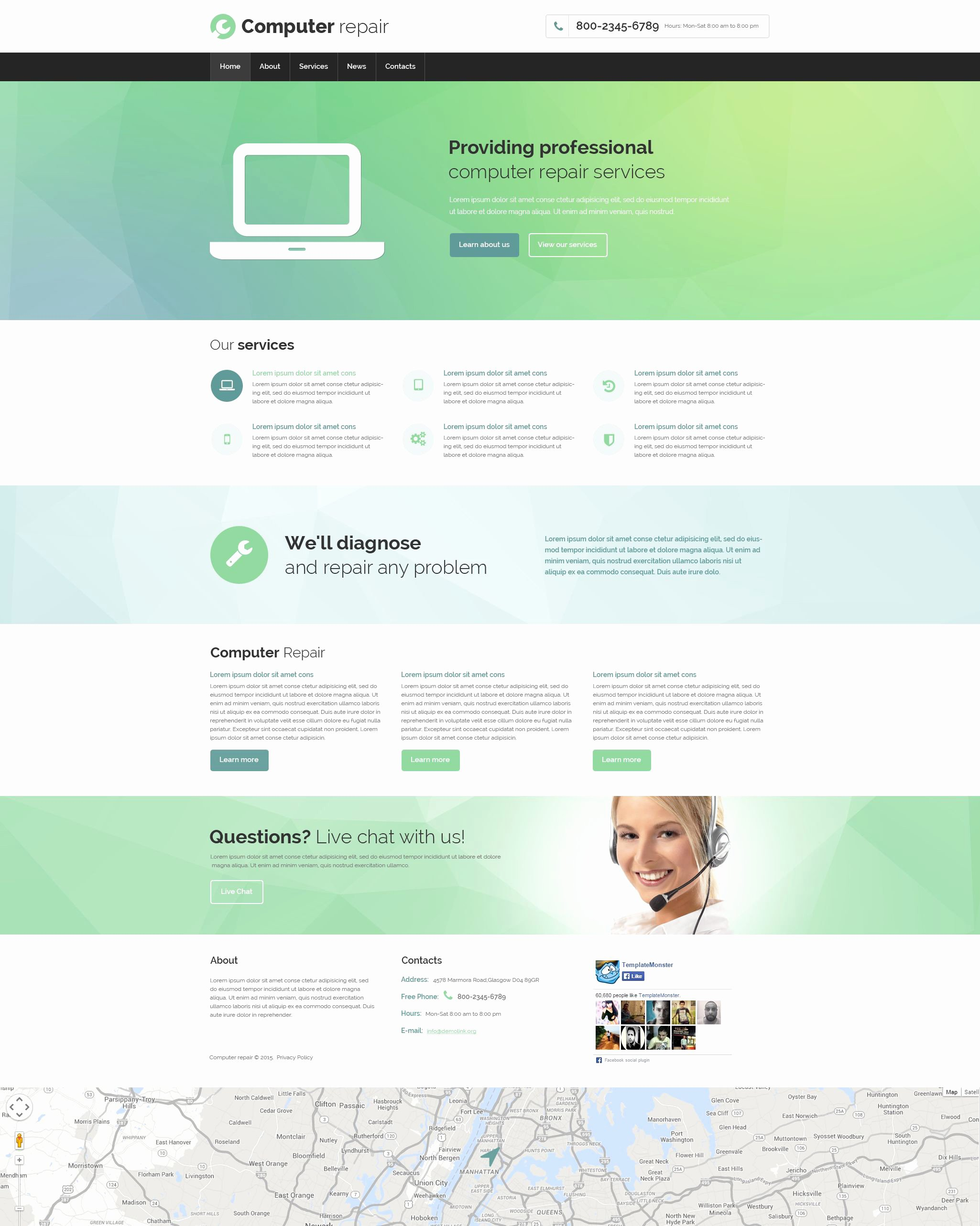 Computer Repair Website Template Unique Puter Repair Responsive Website Template