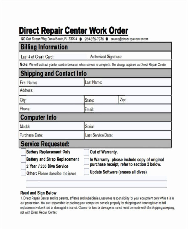 Computer Repair Work order Template Awesome Puter Work order Template Idealstalist