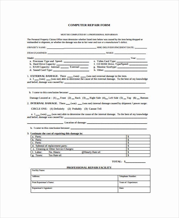 Computer Repair Work order Template Elegant Puter Repair form Template